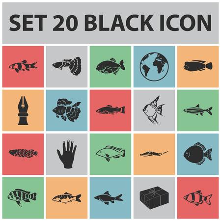 Different types of fish black icons in set collection for design. Marine and aquarium fish vector symbol stock illustration. Illustration