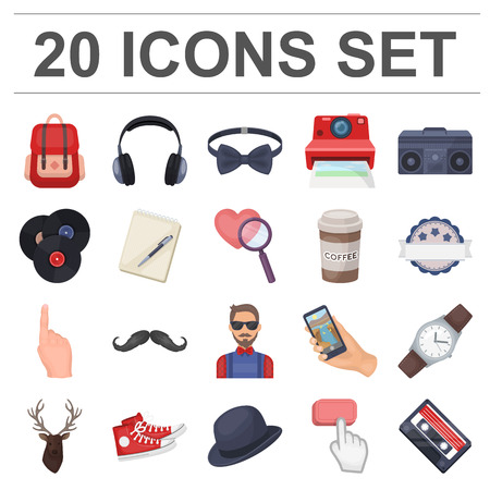 Style Hipster cartoon icons in set collection for design. Hipster Attributes and accessories vector symbol stock  illustration.