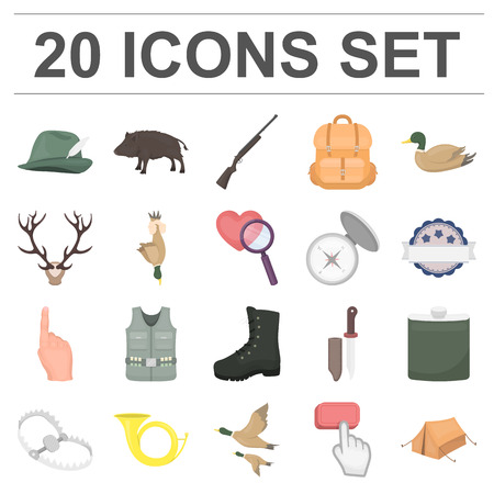Hunting and trophy cartoon icons in set collection for design.