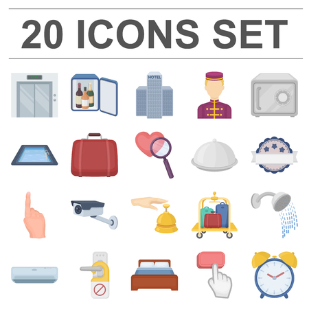 Hotel and equipment cartoon icons in set collection for design. Hotel and comfort vector symbol stock web illustration. 向量圖像