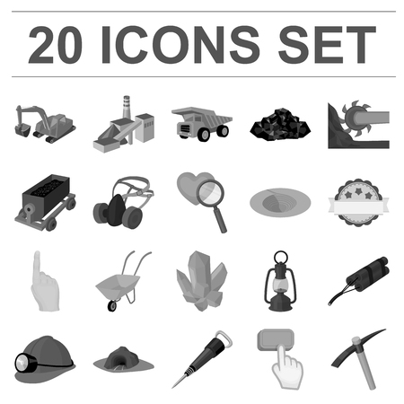 Mining industry monochrome icons in set collection for design. Equipment and tools vector symbol stock illustration.