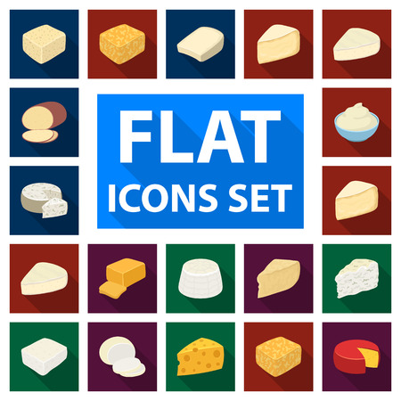 Different kind of cheese flat icons vector illustration set
