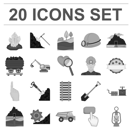 Mining industry monochrome icons in set collection for design. Equipment and tools  symbol stock illustration. Illustration