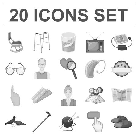 Human old age monochrome icons in set collection for design. Pensioner, period of life vector symbol stock  illustration. Ilustracja