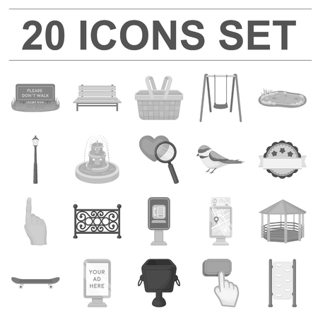 Park, equipment monochrome icons in set collection for design. Walking and rest vector symbol stock illustration.