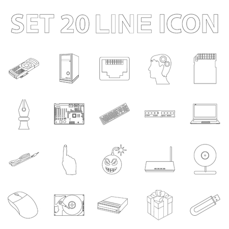 Personal computer outline icons in set collection for design. Equipment and accessories vector symbol stock  illustration.