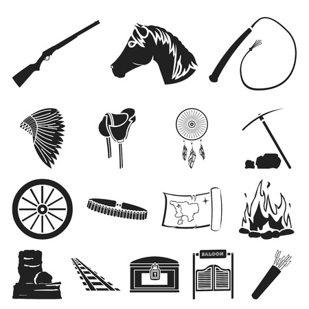 Attributes of the wild west black icons in set collection for design.Texas and America vector symbol stock  illustration. Ilustração