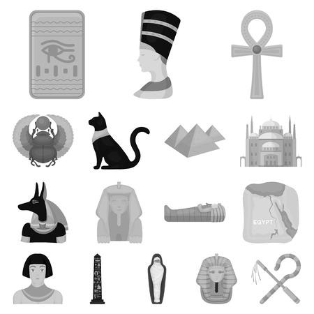 Starożytny Egipt monochromatyczne ikony w kolekcji zestaw do projektowania. Za panowania faraona wektor symbol sieci web ilustracji.