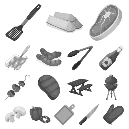 Barbecue and equipment monochrome icons in set collection for design. Picnic and fried food vector symbol stock web illustration.