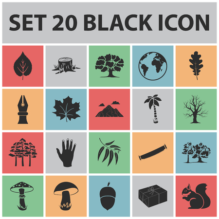 Forest and nature black icons in set collection for design. Forest life vector symbol stock web illustration.