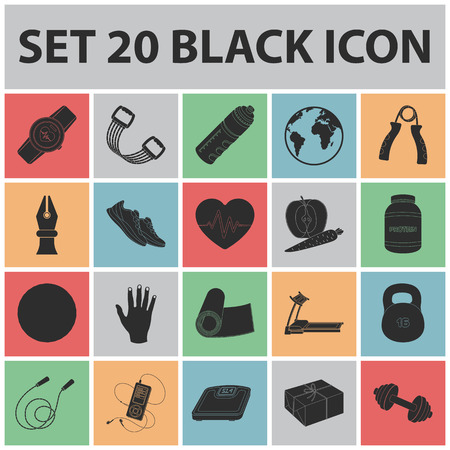 Gym and training black icons in set collection for design. Gym and equipment icons in set collection for design.