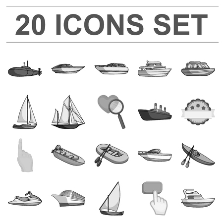 Water and sea transport monochrome icons in set collection for design. A variety of boats and ships vector symbol stock web illustration.
