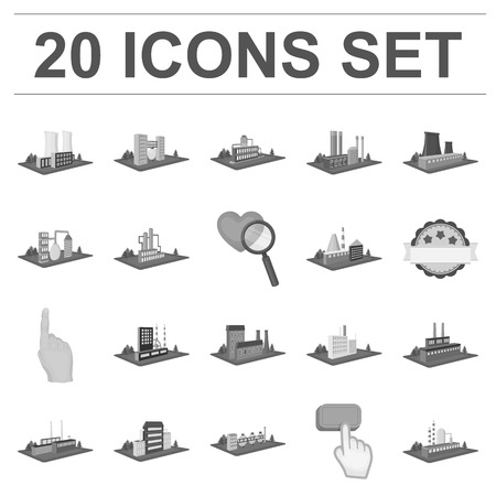 Factory and plant monochrome icons in set collection for design. Production and enterprise vector isometric symbol stock web illustration. Stock Illustratie