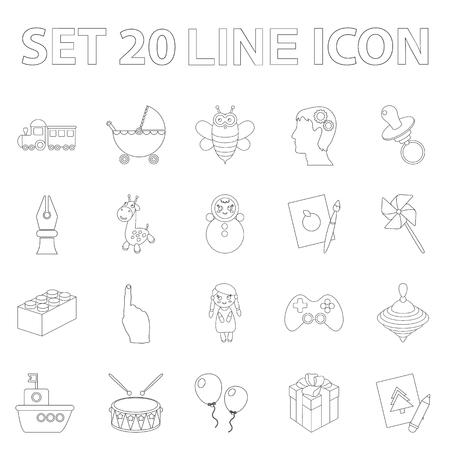 Childrens toy outline icons in set collection for design. Game and bauble vector symbol stock  illustration. Ilustração