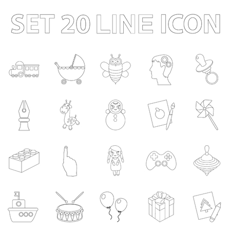 Children's toy outline icons in set collection for design. Game and bauble vector symbol stock  illustration. Vettoriali