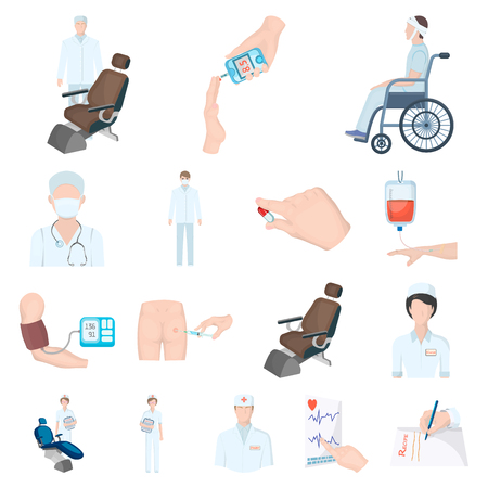 Set of medical treatment cartoon icons Illustration