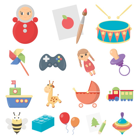 Childrens toy cartoon icons in set collection for design. Game and bauble vector symbol stock  illustration.