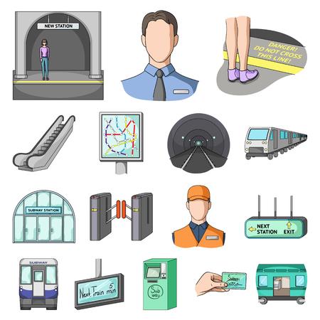 Metro, subway cartoon icons in set collection for design.Urban transport vector symbol stock  illustration.