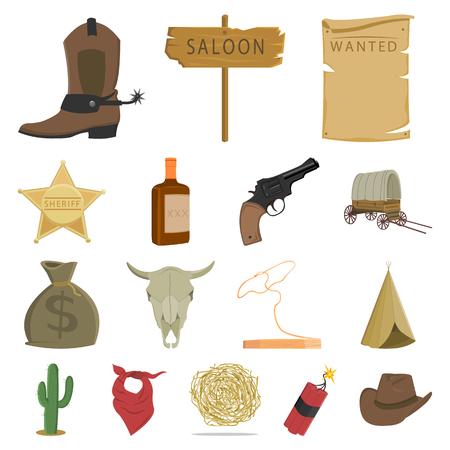 Attributs des icônes de dessin animé de Far west dans la collection de jeu pour le design. Texas et l'Amérique vector illustration stock symbole. Banque d'images - 93075458