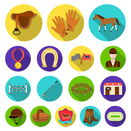 Hippodrome and horse flat icons in set collection for design. Horse Racing and Equipment vector symbol stock  illustration. Illustration