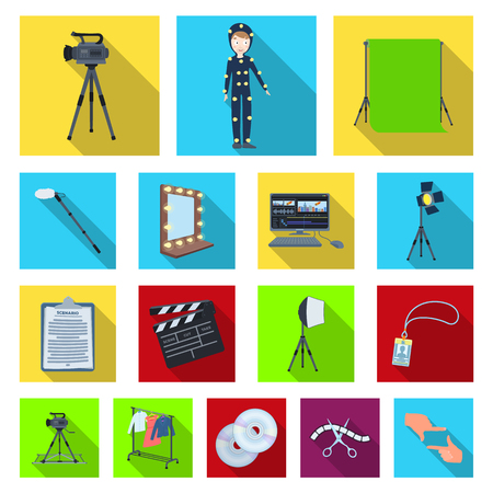Making a movie flat icons in set collection for design. Attributes and Equipment vector symbol stock illustration.