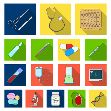 Medicine and treatment flat icons in set collection for design. Medicine and equipment vector symbol stock  illustration.