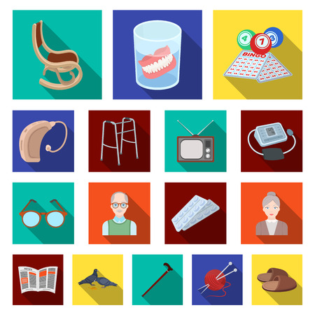 Human old age flat icons