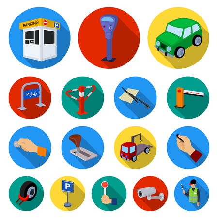 Parking for cars flat icons in set collection for design. Equipment and service vector symbol stock  illustration.