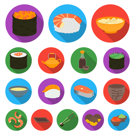 Sushi and seasoning flat icons in set collection for design. Seafood food, accessory vector symbol stock  illustration. Illustration