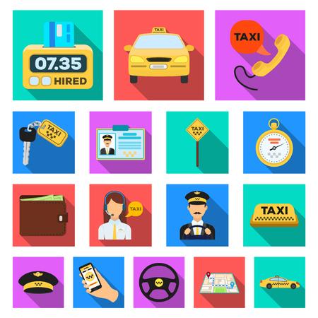 Icone piane di servizio di taxi nella raccolta dell'insieme per progettazione. Tassista ed illustrazione di riserva di simbolo di vettore di trasporto. Archivio Fotografico - 93078028