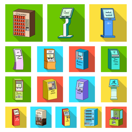 Variety of terminals flat icons in set collection for design. ATM and trading device vector symbol stock  illustration.