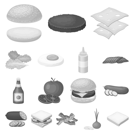 Burger and ingredients monochrome icons in set collection for design. Burger cooking vector symbol stock web illustration. Vettoriali