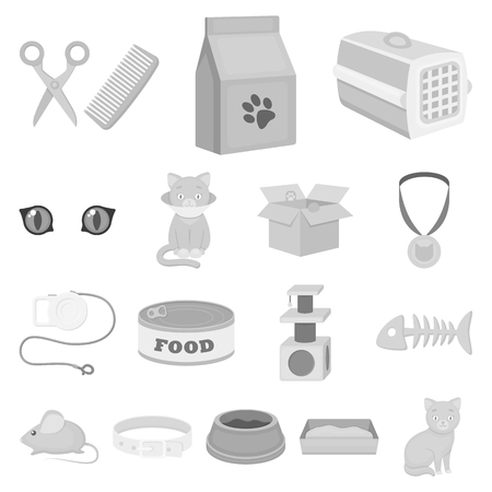 An animal cat monochrome icons in set collection for design. Caring for a cat vector symbol stock  illustration.  イラスト・ベクター素材