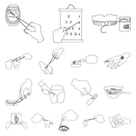 Manipulation by hands outline icons in set collection for design. Hand movement in medicine vector symbol stock illustration. Illustration