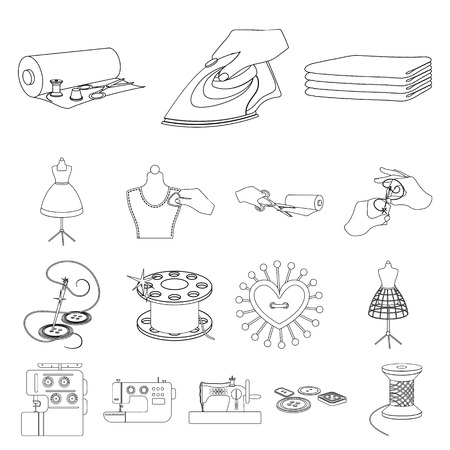Atelier and equipment outline icons in set collection for design. Sewing of outer clothing vector symbol stock  illustration.