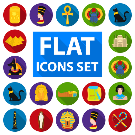 Ancient Egypt flat icons in set collection for design. The reign of Pharaoh vector symbol stock  illustration. Illustration