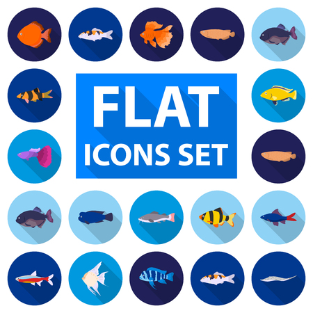 Different types of fish flat icons in set collection for design. Marine and aquarium fish vector symbol stock illustration.