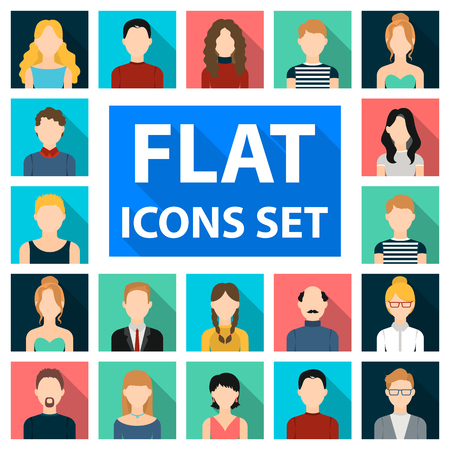 Avatar and face flat icons in set collection for design. A persons appearance vector symbol stock illustration.