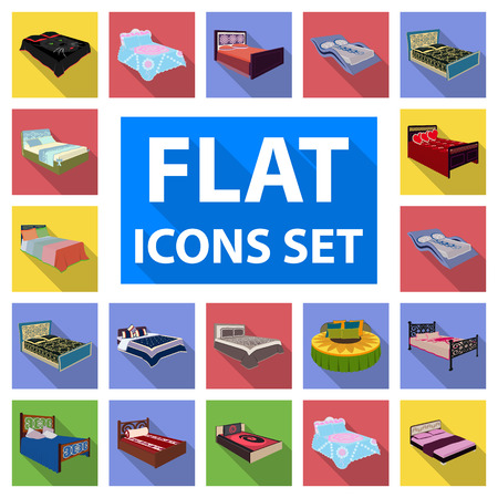 Different beds flat icons in set collection for design. Furniture for sleeping vector isometric symbol stock  illustration.