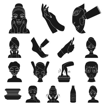 Skin care black icons in set collection for design. Face and body symbol stock illustration.