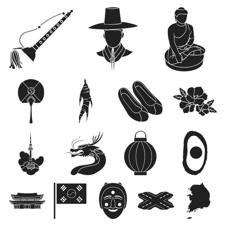 Country South Korea black icons in set collection for design.Travel and attraction vector symbol stock web illustration.
