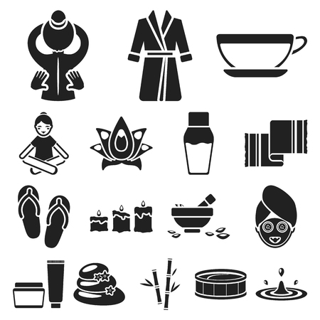 Spa salon and equipment black icons in set collection for design. Relaxation and rest vector symbol stock  illustration. Stock Illustratie