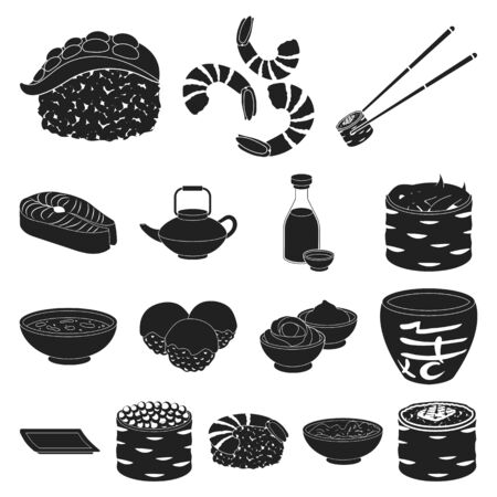 Sushi and seasoning black icons in set collection for design. Seafood food, accessory vector symbol stock  illustration.