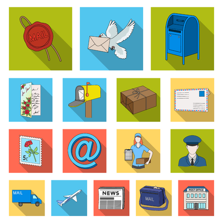 Mail and postman flat icons in set collection for design. Mail and equipment vector symbol stock  illustration.