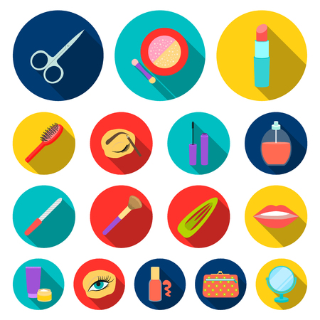 Makeup and cosmetics flat icons in set collection for design. Makeup and equipment vector symbol stock  illustration.