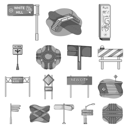 Road junctions and signs monochrome icons in set collection for design.Pedestrian crossings and signs vector symbol stock illustration. Illustration