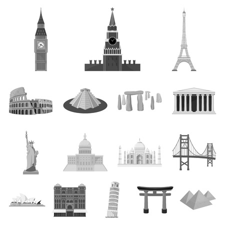 Sights of different countries monochrome icons in set collection for design. Famous building vector symbol stock  illustration. Illustration