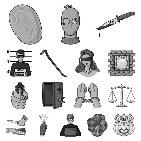 Crime and Punishment monochrome icons in set collection for design.