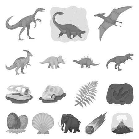 Different dinosaurs monochrome icons in set collection for design. Prehistoric animal vector symbol stock web illustration. Illustration