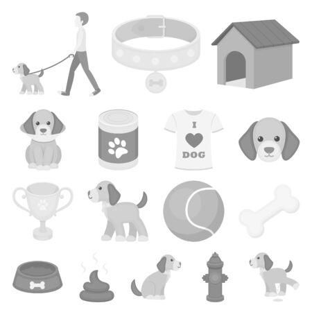 Pet monochrome icons in set collection for design. Ilustração